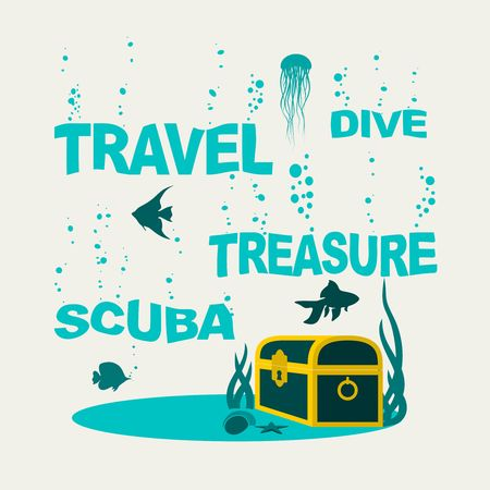 Underwater world background. Underwater landscape with sunken ship and treasure chest. Marine life and fauna. . Sinking words with bubbles Illustration