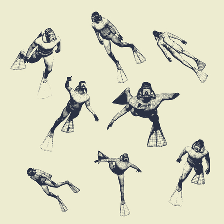 Silhouettes of diver. Set of diver icons. The concept of sport diving. Vintage engraved illustration Vectores