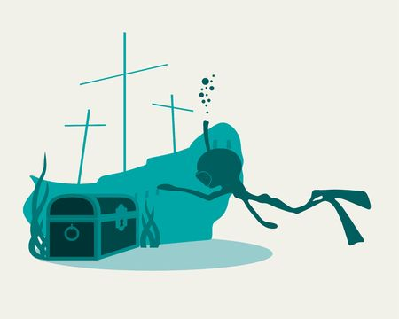 Silhouette of diver. Icon diver drawn in cartoon doodle style. Underwater world background. Underwater landscape with sunken ship and treasure chest. Marine life and fauna. Illustration