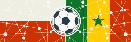 Flags of countries participating to the football tournament. Poland and Senegal national flags. Soccer ball in the center. Connected lines with dots Illustration