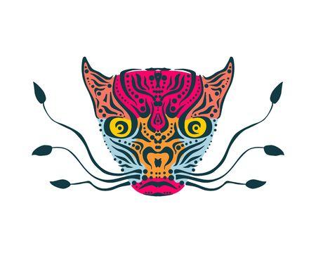 Ornamental tattoo wild cat head. Abstract hand drawn style