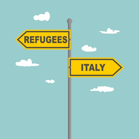 Road signs with Refugees and Italy text pointing in opposite directions. Illustration relative to migration from Africa to European Union.