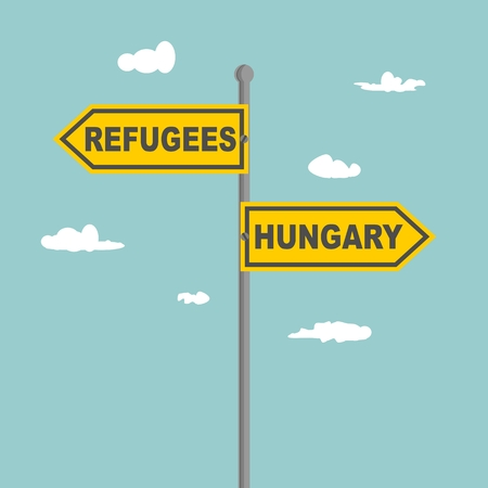 Road signs with Refugees and Hungary text pointing in opposite directions. Illustration relative to migration from Africa to European Union.