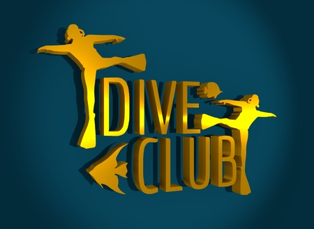 Silhouette of diver. Graphic design of stamp. The concept of sport diving. 3D rendering Stock Photo