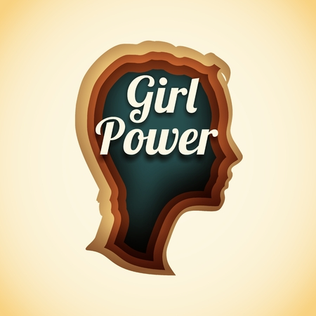 Face side view. Elegant silhouette of a female head. Short hair. Illustration with paper cut shapes. Girl power text
