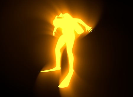 Silhouette of diver. Icon diver. The concept of sport diving. Neon bulb illumination. 3D rendering Stock Photo