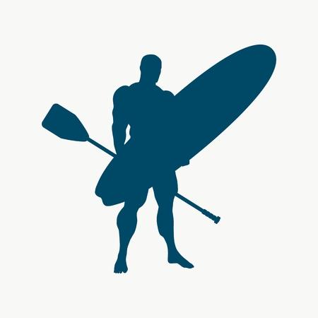 Mann, der mit Surfbrett und Paddel aufwirft. Vintage Surfgrafik und Emblem für Webdesign oder Druck. Stand Up Paddle Boarding