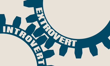 Extrovert and introvert. Mechanism of gears. Communication concept in industrial design. Modern brochure design template