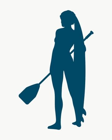 Femme posant avec planche de surf et paddle. Graphique et emblème de surf vintage pour la conception Web ou l'impression. Stand up paddle