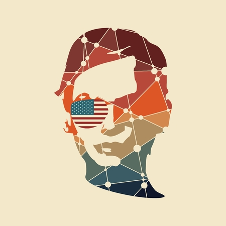 Portrait of beautiful woman wearing sunglasses. Front view. Silhouette textured by lines and dots pattern. USA flag