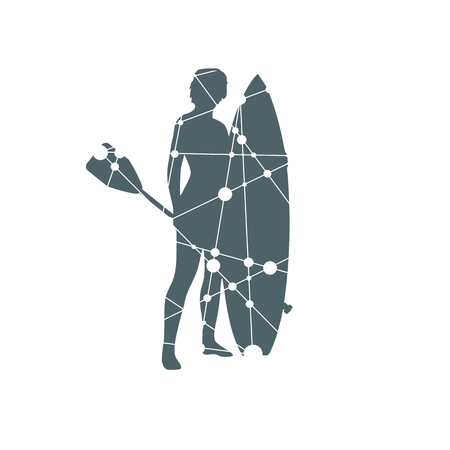 Woman posing with surfboard and paddle. Vintage surfing graphic and emblem for web design or print. Stand up paddle boarding. Silhouette textured by lines and dots pattern