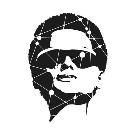 Portrait of beautiful woman wearing sunglasses. Front view. Silhouette textured by lines and dots pattern