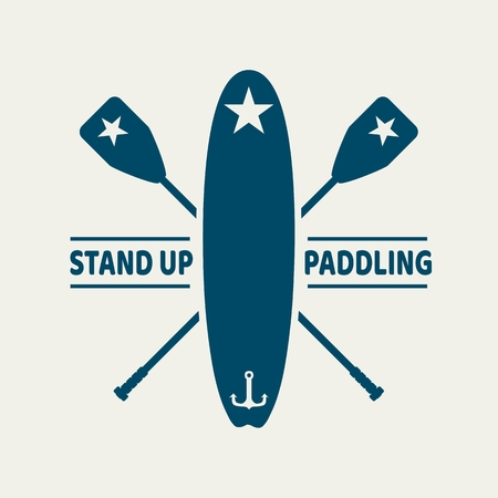 Surfboard and paddles. Surfing graphic and emblem for web design or print. Stand up paddle boarding