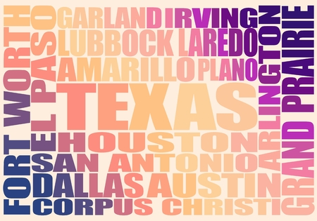 Image relative to USA travel. Texas cities and places names cloud. Foto de archivo - 104267607