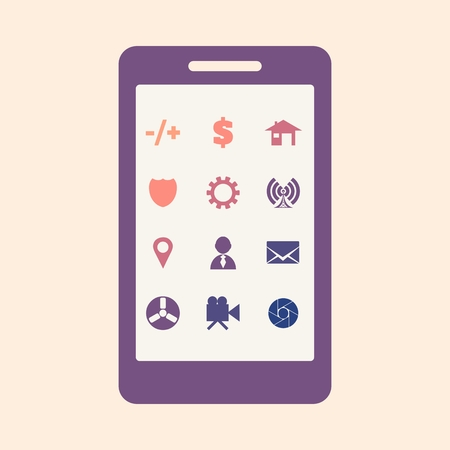 Abstract smarrtphone display. Icons of various apps Illustration