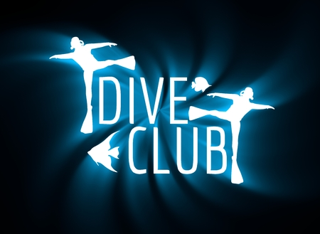 Silhouette of diver. Graphic design of stamp. The concept of sport diving. Neon bulb illumination. 3D rendering