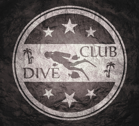 Silhouette of diver. Graphic design of stamp. The concept of sport diving.