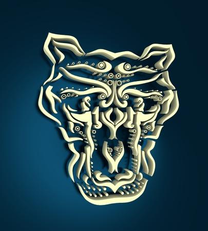 Zentangle cougar for tattoo in boho, hipster style. Ornamental tribal illustration. 3D rendering