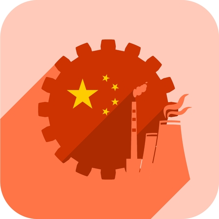 Atom station icon with China flag on gear. Sustainable energy generation and heavy industry. Web icon with long shadow Vettoriali