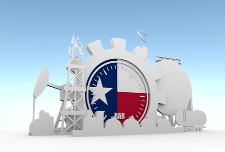 Gear with energy relative silhouettes. Design set of natural gas industry. Flag of the Texas Reklamní fotografie