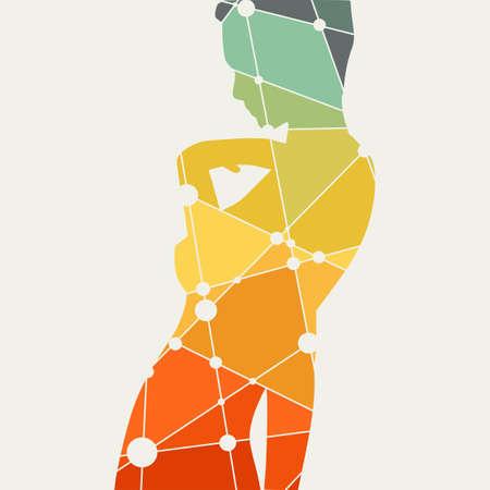 Donna confusa alzando la mano per affrontare. Silhouette donna sexy. Manichino di moda. Capelli corti. Sagoma strutturata da linee e pattern di punti