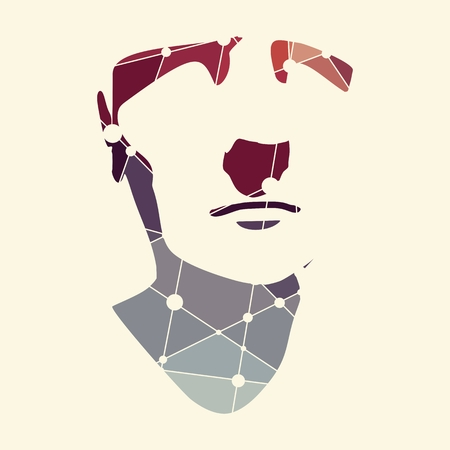 Front view of a man. Male face silhouette or icon textured by lines and dots pattern