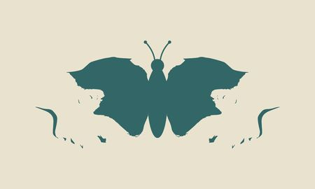 A butterfly or two face profile view. Optical illusion. Human head make silhouette of insect Çizim