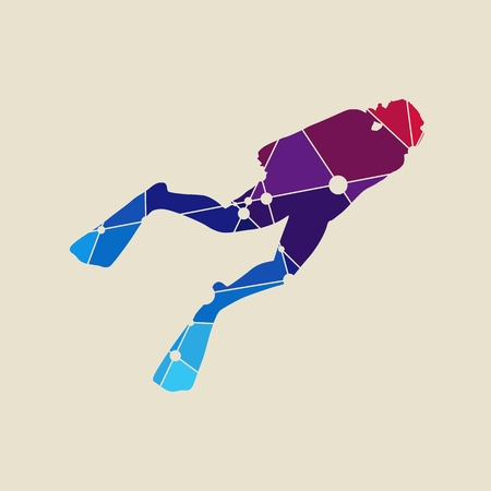 Silhouette of diver. Icon diver. The concept of sport diving. Textured by connected lines with dots.