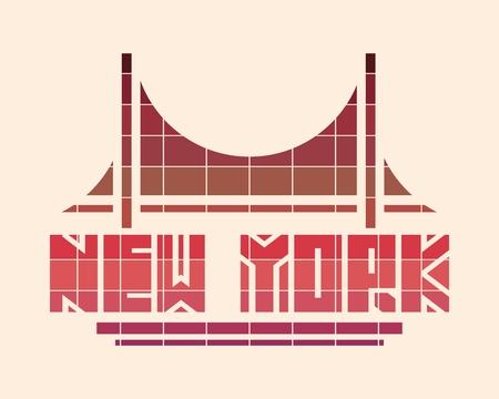 Image relative to USA travel theme. New York city name with bridge cutout silhouette. Urban scene. Creative vintage typography poster concept.