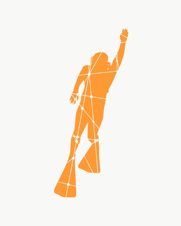 Silhouette of diver. Icon diver. The concept of sport diving. Textured by connected lines with dots. Vectores