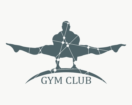Bodybuilder silhouette. Sport equipment or gym club emblem. Textured by connected lines with dots Ilustración de vector
