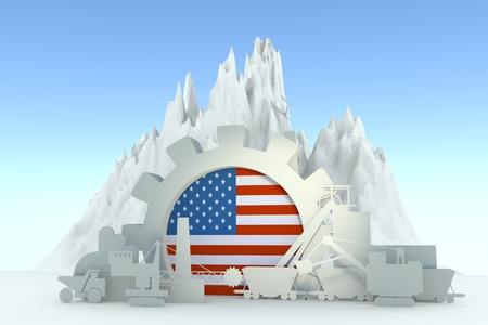 Gear with energy relative silhouettes. Design set of coal mining industry. Flag of the USA. 3D rendering