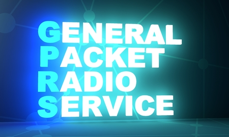 Acronym GPRS - General Packet Radio Service. Technology conceptual image. 3D rendering. Neon bulb illumination