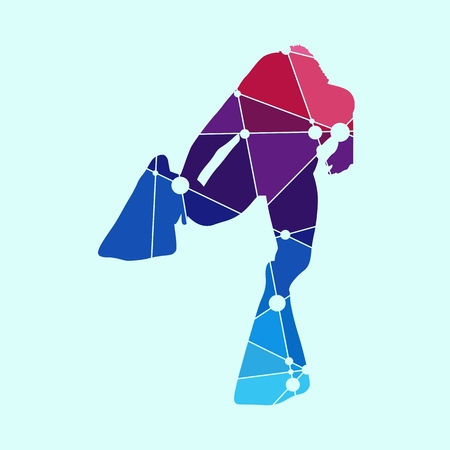 Silhouette of diver. Icon diver. The concept of sport diving. Textured by connected lines with dots. Vektorgrafik