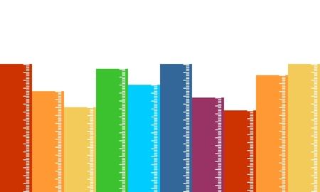 Back to School Design Background. Multicolor Yardsticks Stock Illustratie