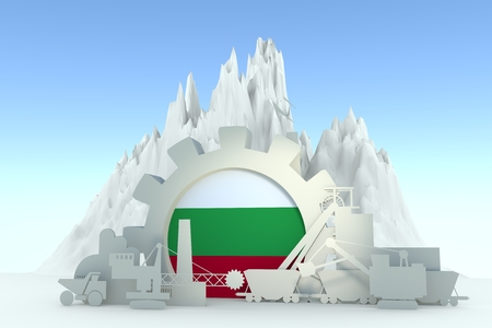Gear with energy relative silhouettes. Design set of coal mining industry. Flag of the Bulgaria. 3D rendering Stock Photo
