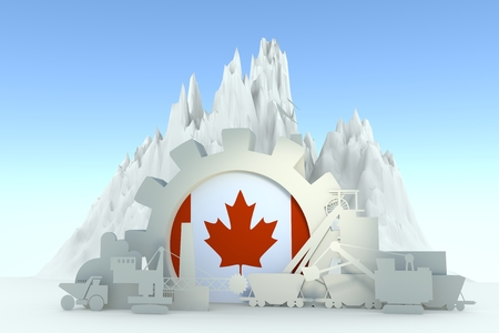 Gear with energy relative silhouettes. Design set of coal mining industry. Flag of the Canada. 3D rendering