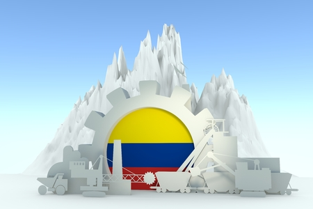 Gear with energy relative silhouettes. Design set of coal mining industry. Flag of the Colombia. 3D rendering Stock Photo