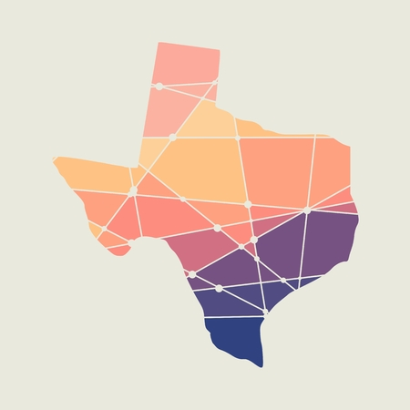 Image relative to USA travel. Texas state map textured by lines and dots pattern Ilustração