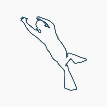 Silueta de buzo. Icono de contorno web de buzo. El concepto de buceo deportivo.