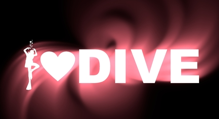 i love dive text with silhouette of diver and heart icon. The concept of sport diving. 3D rendering. Neon bulb illumination