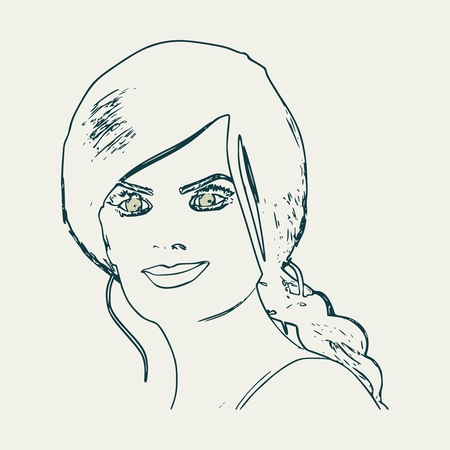Face half turn view. Elegant outline silhouette of a female head. Portrait of a happy smiled woman