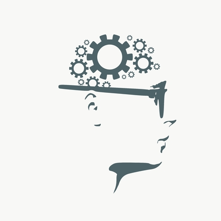 Silhouette of a head. Mental health relative brochure, report design template. Scientific medical designs. Gears group as a symbol of a brains.