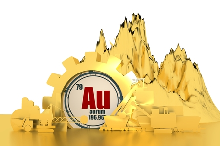 Gear with energy relative silhouettes. Design set of coal mining industry. Gold chemical element. 3D rendering