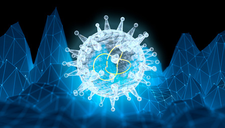 Virus abstract transparent model. Medicine research relative illustration. Polygonal mosaic background. 3D rendering