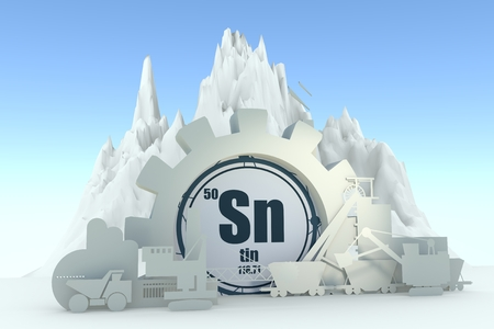 Gear with energy relative silhouettes. Design set of coal mining industry. Tin chemical element. 3D rendering