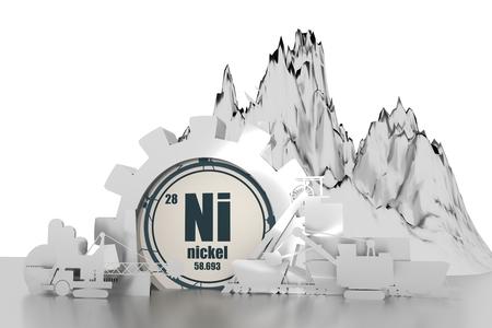 Engrenage avec des silhouettes relatives d'énergie. Ensemble de conception de l'industrie minière du charbon. Élément chimique de nickel. Rendu 3D