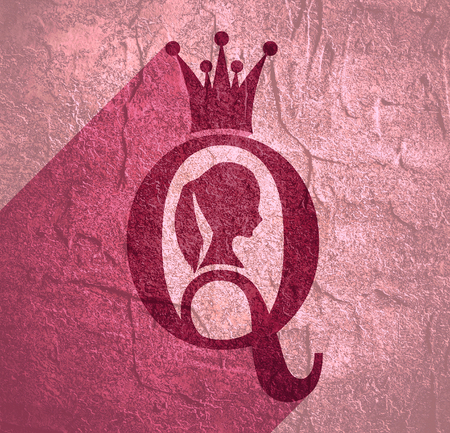 Vintage queen silhouette. Medieval queen profile. Elegant silhouette of a female head. Ponytail hairstyle. Royal emblem with Q letter. Web icon with long shadow