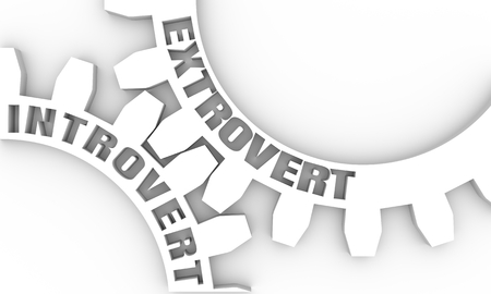 Extrovert and introvert. Mechanism of gears. Communication concept in industrial design. Modern brochure design template. 3D rendering Stock Photo