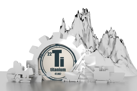 Gear with energy relative silhouettes. Design set of coal mining industry. Titanium chemical element. 3D rendering Stock Photo